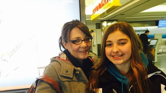 Terrah Poole and daughter Kyah Poole were traveling to Alberta, Canada on American Airlines from LaGuardia Airport earlier Monday.